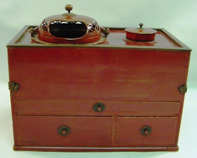 1880's Japan Zelkova Wood Lacquer & Bronze Hibachi Chest