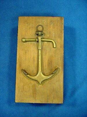 * Antique Wooden Box w. Brass Anchor Ornament Maritime Marine Trinket Pencil Box