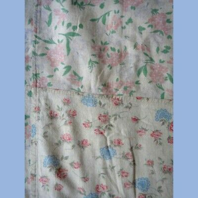 """antique FEEDSACK FABRIC QUILT COVER/DUVET feed sac 57""""x62"""" FLORAL CHIC SHABBY#2"""
