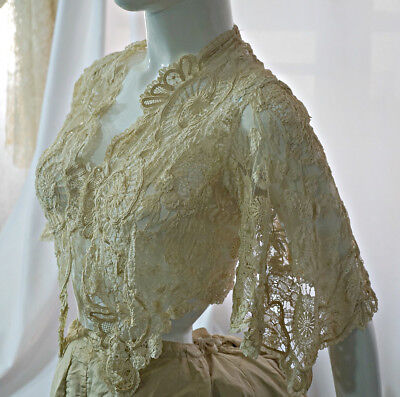 Antique Victorian wedding jacket circa 1870s Brussels mixed lace