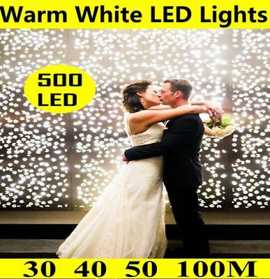 30/40/50/100M Led Warm White Light Christmas String Fairy Icicle Lights Party