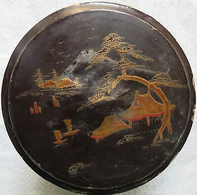 Asian Trinket Japnees Black Lacquer  Box Rare Gold Hand Painted Monuments