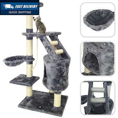 Todeco Cat Tree with Grey Scratching Post – Made of Natural Sisal