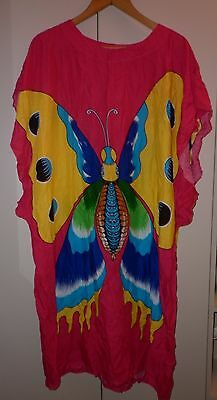 Vintage Bright Butterfly Summer Beach Dress / Cover Up   Excellent Condition