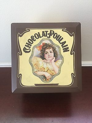 Vintage Chocolate Poulain Print Tin Can French