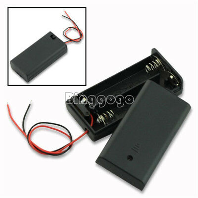 2Stks 2A Battery Holder Box Case with ON/OFF Switch and Cover for 2AA battery