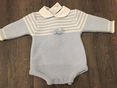 Baby babies boy boys girl girls outfit  knitted romper pale blue