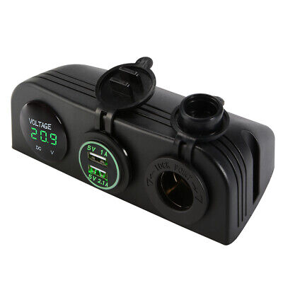 Dual USB Charger + 12V Cigarette Lighter Socket + Volt Meter Panel Mount MA1161