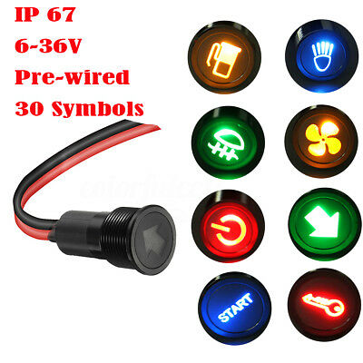 Waterproof 12V 24V 12mm Symbol LED Dash Panel Warning Indicator Pilot Light Lamp