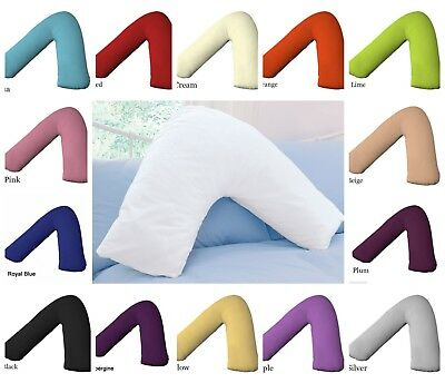 Hollowfibre Back and Neck Support V Shaped Orthopedic Pillow With Pillow Case