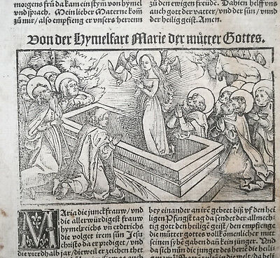 Post Incunable Life of Saints Heiligenleben Woodcut Leaf Ascension Mary - 1521