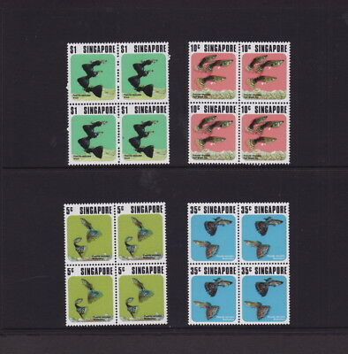 SINGAPORE 1974 FISHES X 4 COMPLETE SETS in BLOCK of 4 - MINT UNHINGED (L256)