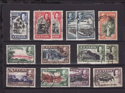CEYLON 1935 KGV 14 STAMPS Complete Set to 1R- GOOD USED (L025)