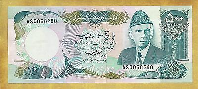 Pakistan 500 Rupees Prefix AS P-42 AU- S/H Currency Banknote ***USA SELLER***