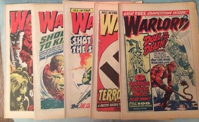 5 X Vintage 'Warlord' Comics Issues #110, 111, 112, 113, 114 (Oct-Nov 1976)