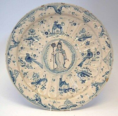 Massive Maiolica Charger 1680 Faience Delft Mansies Hispano 17Eme 17Th Century