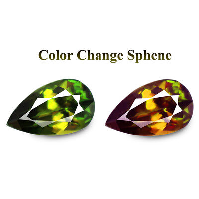 2.94ct Natural earth mined extremely rare multi color flash color change sphene