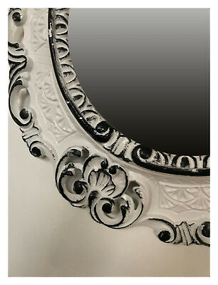 Wall Mirror White Black Oval 45x38 Baroque Antique Repro Vintage Retro