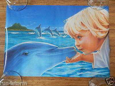 """1996 Dolphin & Boy, Art by Larry Robins 16"""" x 23 ½"""" Poster"""