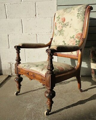 Antique Rosewood Library Armchair Cope & Collinson Castors Reupholstery Project