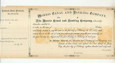 Unused 1869 Morris Canal And Banking Company Scrip Certificate