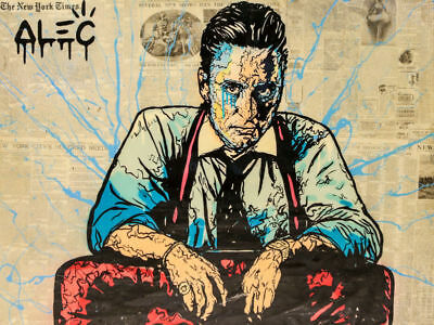 Alec Monopoly Oil Painting on Canvas Graffiti art,Black Tie 24x32inch