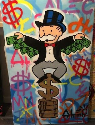 Alec Monopoly Oil Painting on Canvas Graffiti art,Flying Monopoly 24x36inch