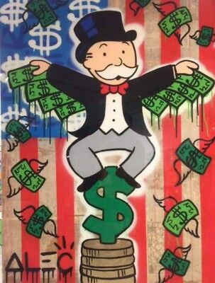Alec Monopoly Oil Painting on Canvas Graffiti art,Money Wings USA Flag 24x32inch