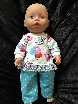 Dolls clothes made to fit 32cm Little Baby Born Dolls (size Small).  Pyjamas