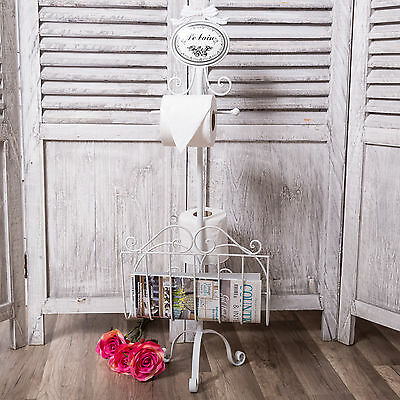 White Le Bain Toilet Roll Holder Freestanding Stand French Vintage Bathroom Home