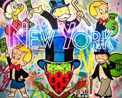 Alec Monopoly Oil Painting on Canvas Graffiti art,New York Neon 24x30inch