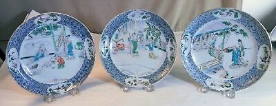 Three Chinese Export Porcelain Plates with Figural Decoration c. 1840