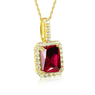 Created Ruby & Cubic Zirconia Halo Pendant w/Chain 14k Gold Over Sterling Silver