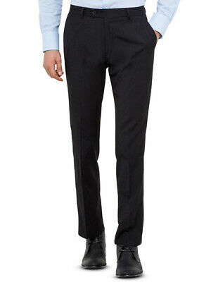 NEW Black Wool Blend Flat Front Suit Trouser with Evercool Coldblack Technology