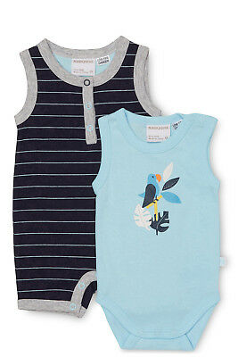 NEW Marquise Parrot 2pc Set-Romper & Bodysuit Navy