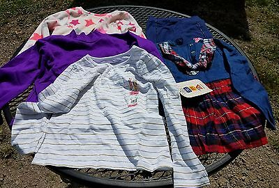 girls 4t lot of 5 new nwt long sleeve shirts pants cute casual vintage winter