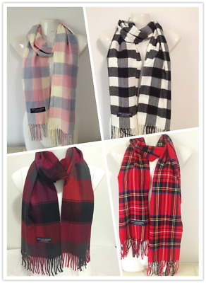 Wholesale 4Pcs 100% Cashmere Scarf Made In Scotland Checked Design Style C