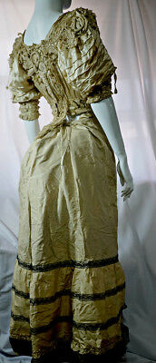 Antique Victorian lace dress bodice and skirt