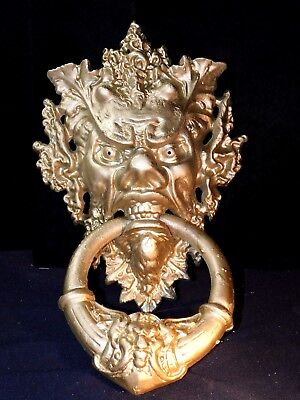 Antique Victorian Cast Iron Door Knocker,devil Door Knocker,bacchus Knocker 16""