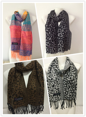 Wholesale 4Pcs 100% Cashmere Scarf Made In Scotland Leopard Design Style C