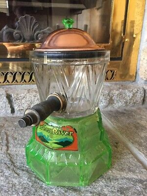 Vaseline Glass Syrup Dispenser Green River from Schoenhofen Co.