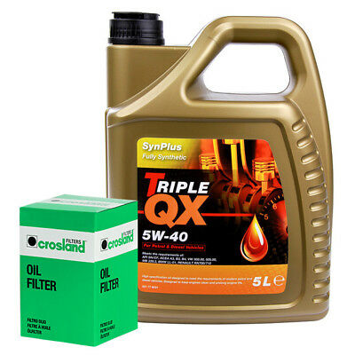 Triple QX Fully Synthetic Plus 5W40 Engine Oil 5L and Oil Filter Service Kit