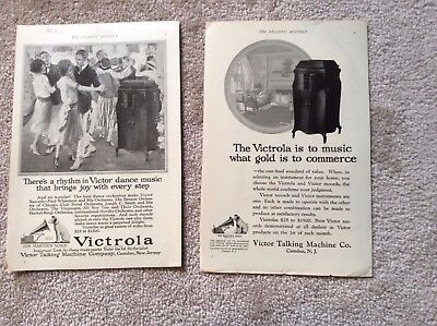 Victrola Talking Machine - Two Small 1922 B/W Ads