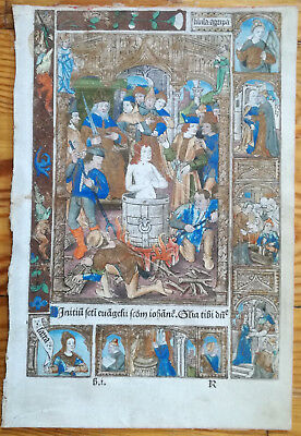 Book of Hours Miniature Vellum Martyr - 1500