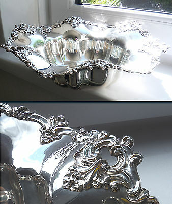 OLD SHEFFIELD LARGE SILVER PLATED FRUIT BOWL-c1850-ORNATE