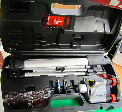Motorized Rotary Laser Level Kit w/ Tripod & Goggles 360 Degrees Rotation 100ft