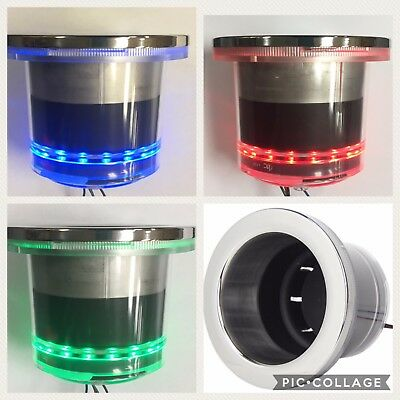 NEW Marine RV VersiColor Stainless Steel Drink Cup Holder LED Red Green & Blue