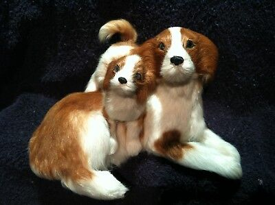 Dunhung Realistic Mother Dog with Puppy Laying Down Beagle Real Rabbit Fur DG206