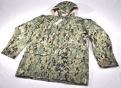 US Navy Issued AOR2 NWU Type III Woodland Gore-Tex Parka MEDIUM X-LONG SWCC SEAL