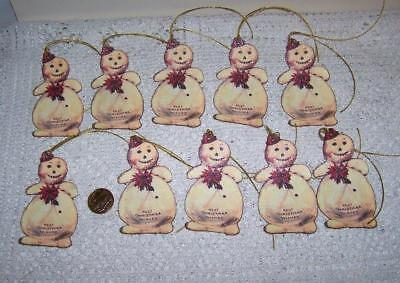 Christmas~Vintage~Snowman~Sparkle~Die Cut~Linen Cardstock~Gift~Hang~Tags